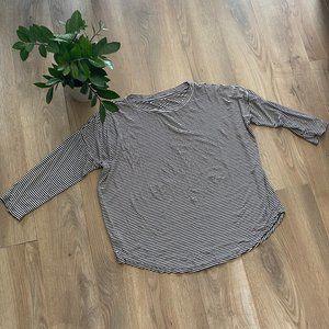 LOFT Striped Slouchy Crewneck  3/4 Sleeve Sweater